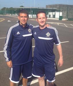Darren with Northern Ireland record goalscorer David Healy.