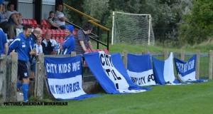 Newry City supporters flags.