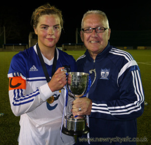 Newry City Ladies Manager James Feehan and Captain Aoife Lennon are pictured here with the Concentrix Championship League Cup