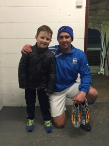 Mascot Eoin with his favourite player and uncle, Sean McMullan