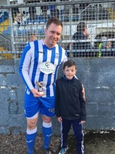 Match day Mascot Jonathan presented Ian Curran with his MOTM Award.