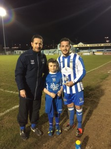 Manager Darren Mullen & Mascot Anton Britton presented MOTM Sean Hand with his award.