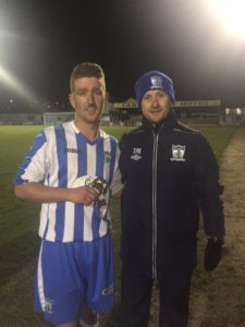 Manager Darren Mullen presents Jimmy Walker with his MOTM Award.