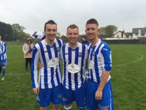 Newry goal scorers Mark Lowry & Jimmy Walker with Timmy Grant.