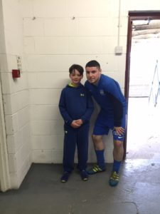 Match Day Mascot Conor Morrison with Captain Chris McMahon