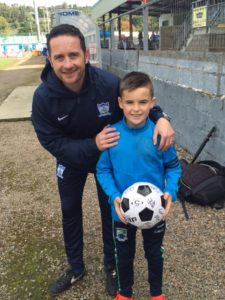 Manager Darren Mullen with Match day Mascot Shane