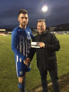 Chairman Martin McLoughlin with MOTM Decky Carville Sponsored by Hughes BET