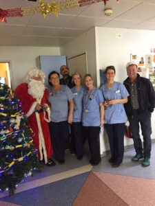 NCAFC Chairman with Santa and the fantastic staff on the Childrens Ward