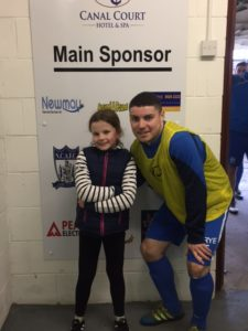NCAFC Match Day Mascot Amelia with Club Captain Chris McMahon