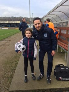 Match Day Mascot Amelia with Manager Darren Mullen